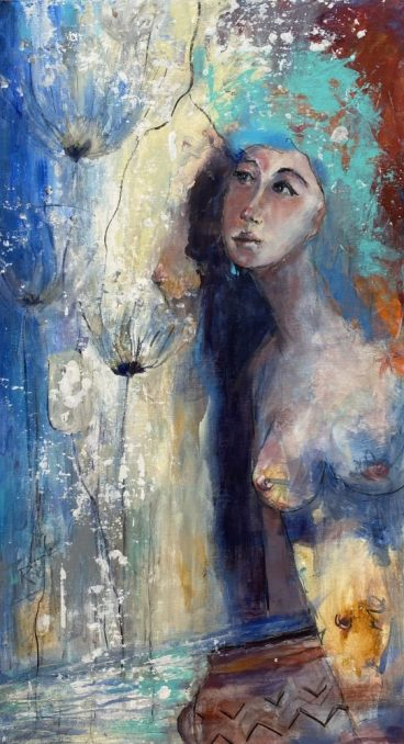 Original No Longer Available 'Watching Water Nymphs Whisper' Mixed Media on Board 60 x 110 cms £950