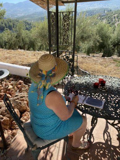 Journalling in the meditation garden