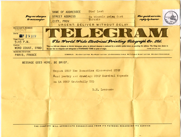 2007 telegram (Paris to Toronto)