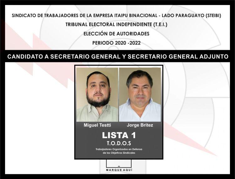 Boletin de voto, Secretario General y Secretario General Adjunto