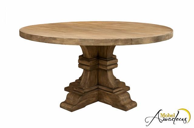 Masa cu picior rotunda din lemn masiv de stejar - design special