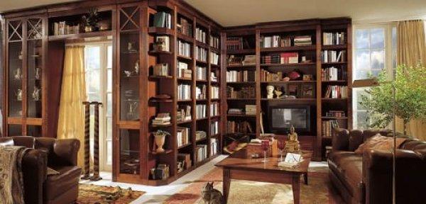biblioteca din stejar masiv pe colt