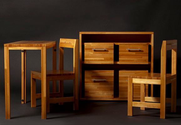 Mobilier modular - Servanta cu 4 sertare, masuta si scaun - Claudio Sibille