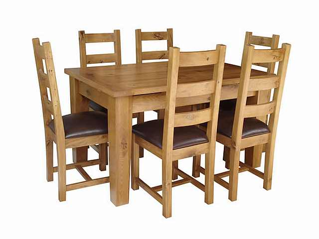 dining rustic masa cu 6 scaun