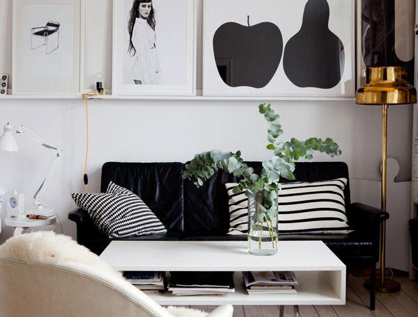 living room alb si negru