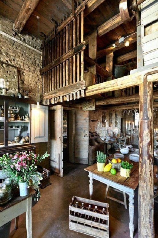 Amenajarile interioare - bucatarie vintage intr-un hambar