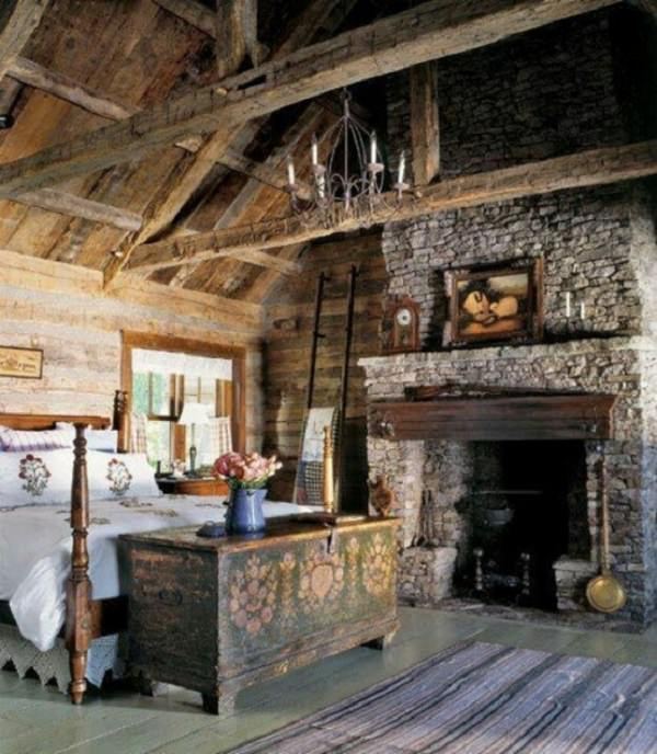 dormitor rustic in hambar