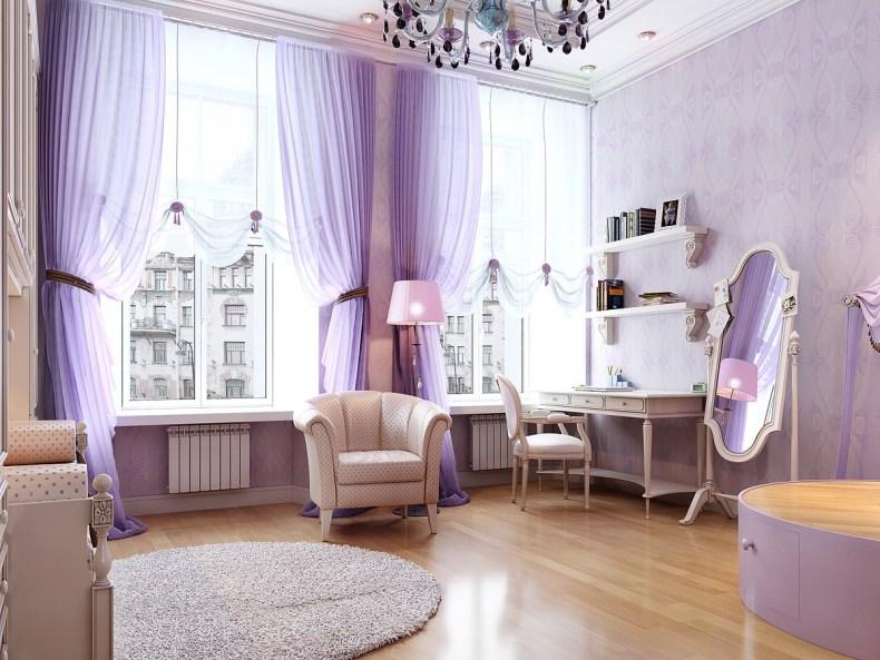 amenajare interioara culoarea mov lavanda