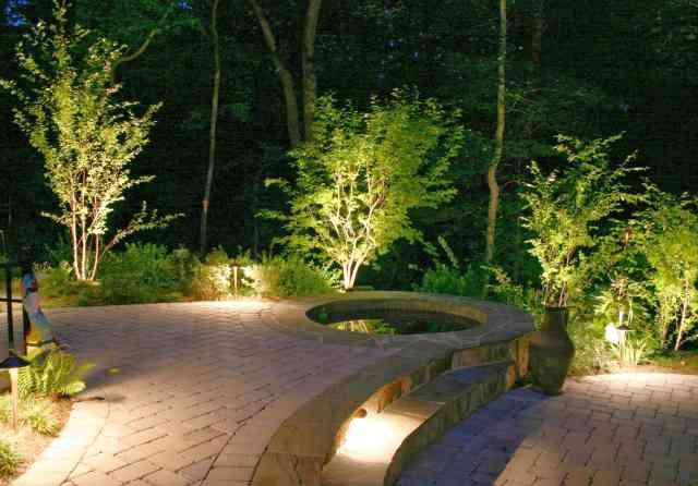 iluminat pentru curtea cu piscina
