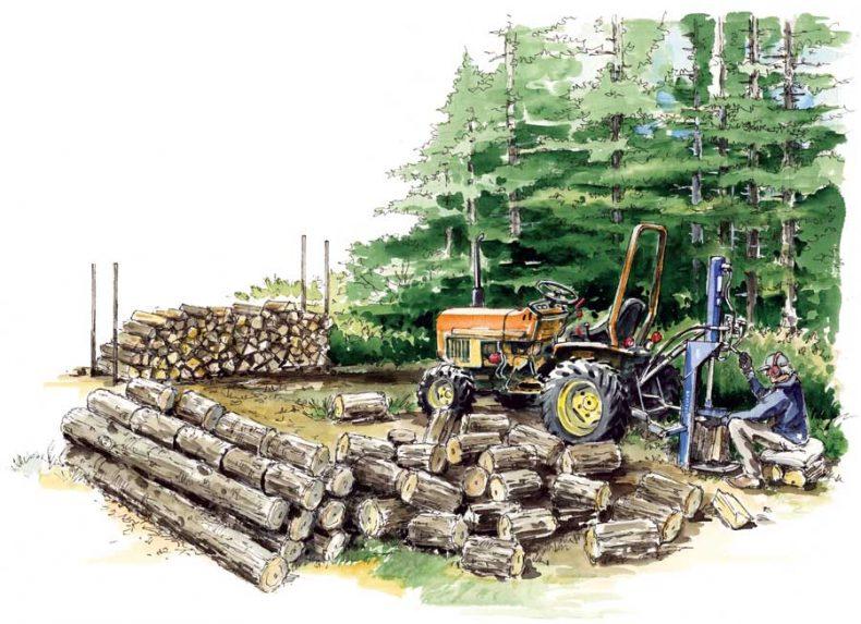 munca de spart lemne de foc