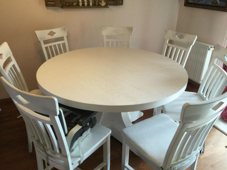 masa rotunda Britain D140 și 7 scaune model Dijon