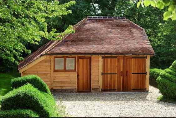 cabana din lemn cu fatada exterioara board siding 2
