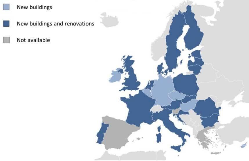 harta Europei cu near Zero Energy Building în 2016