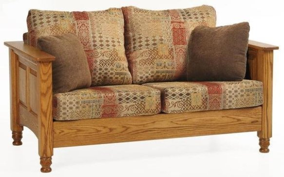 Amish Traditional Wood Trim Loveseat Sofa Berlin Office Collection