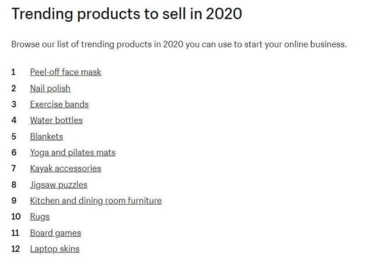Shopify list