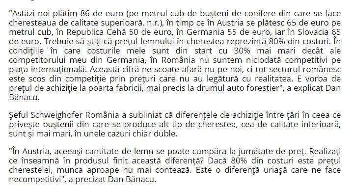 citat Romania Liberă despre prețul lemnului 2019