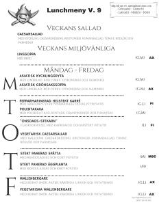 Stekarn lunchmeny vecka 9 Åland företagslunch Stekarn E-Meal Hämtmat www.emeal.ax