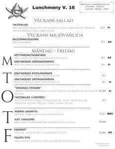 Stekarn lunchmeny vecka 16 Åland företagslunch Stekarn E-Meal Hämtmat www.emeal.ax