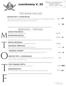 Stekarn lunchmeny vecka 25 Åland företagslunch Stekarn E-Meal Hämtmat www.emeal.ax