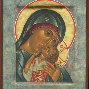Icon of the Korsun Mother of God, 2009, by the hand of Faye Drobnic