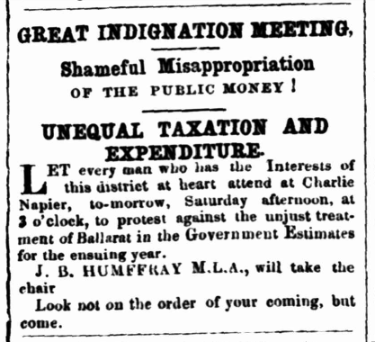 Advertisement for an Indignation Meeting in 1857
