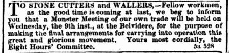 Advertisement for monster meeting from the Melbourne Age, 8 April 1856