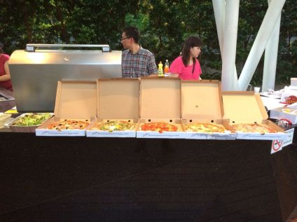 Crosta delivered more pizzas for our evening bash.