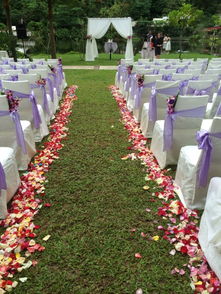 Check out the fresh rose petals along the aisle -- and they made sure it was a mix of colours (spot the blue petals) too. Such attention to detail.