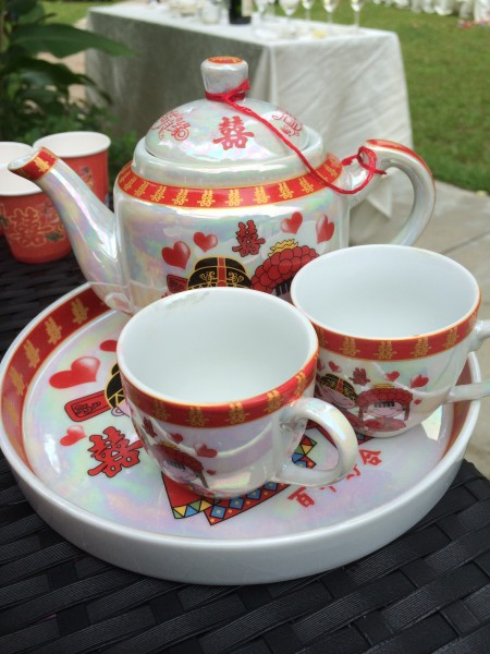 The couple's traditional tea set.