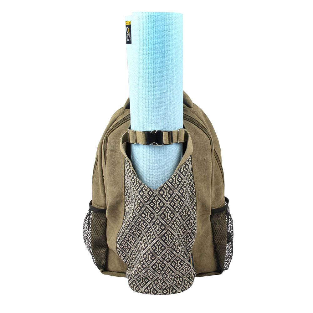 sac a dos pour tapis de yoga kaki