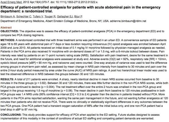 pca academic emergency medicine