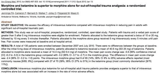 Morphine vs Ketamine