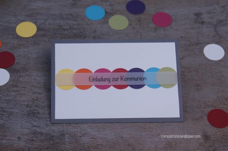 Kommunion Einladung Regenbogen
