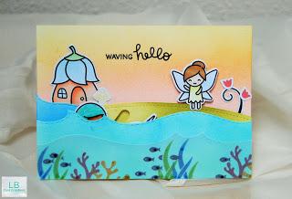 Waving Hello - Lawn Fawn Slider Karte