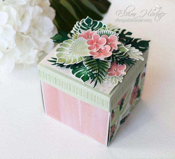 Explosionsbox Tropenflair-Stampin Up-Geburtstagsgeschenk-Verpackung