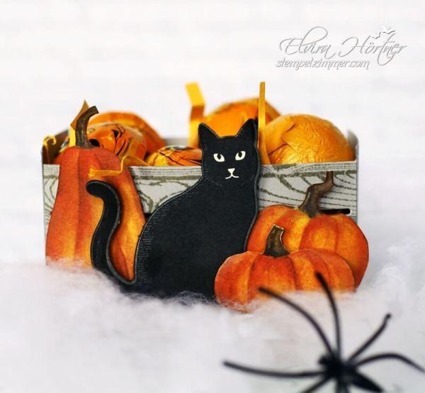 Halloween Holzkiste mit Kuerbis-Verpackung-Halloween-Wie verhext-Designerpapier-Katze-Stampin Up