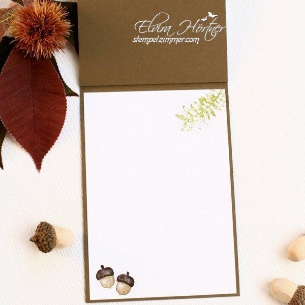 Herbstliche Karte mit Igel-Herbstanfang-Igel-Winterschlaf-Laub-Stampin Up-Stempelzimmer-Elvira Hoertner