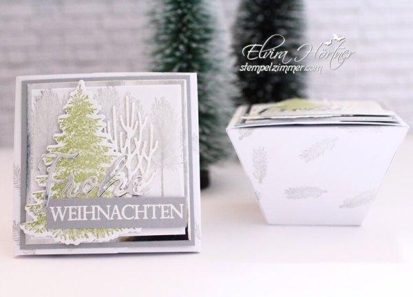 Weihnachtliche Trapezbox in weiss mit Schiefergrau-Tannenbaum aus dem Set Winterwald-Stampin Up-Elviras Stempelzimmer-Blog-Oesterreich