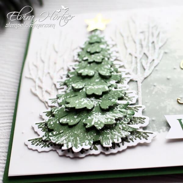 Tannenbaum in 3D Optik aus dem Set Winterwald von Stampin Up-Elviras Stempelzimmer