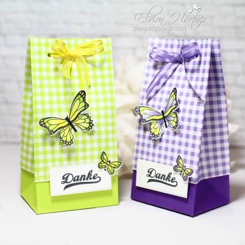 Geschenktüte in Limette und Heideblüte,Schmetterlingsglück,Stampin' Up!- SAB 2019-Elviras Stempelzimmer