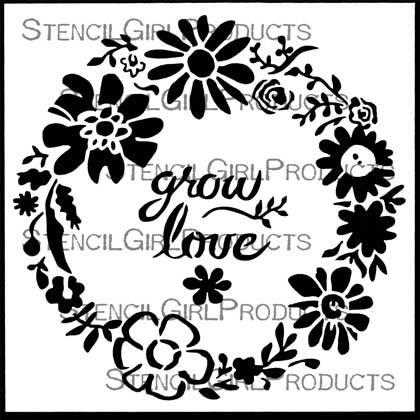 Woodland Floral Wreath Stencil Jennifer Evans