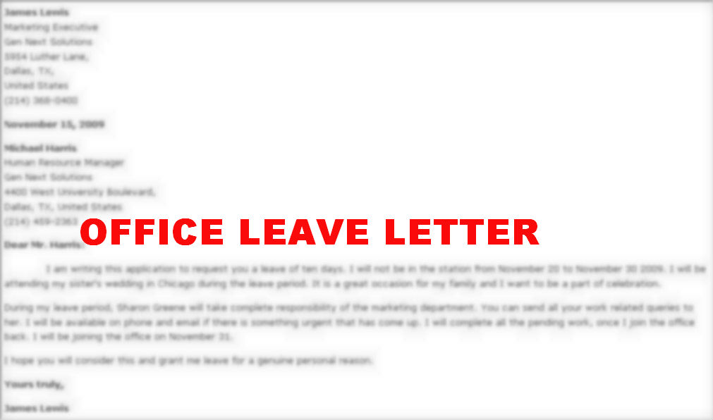 Doc1131874 Sample Application for Leave from School Sick – Official Leave Application Format
