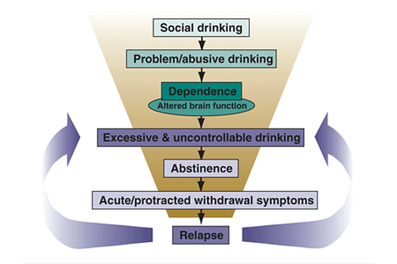 THe alcohlism and alcohol misuse cycle.