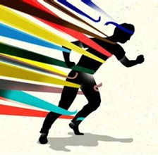 sillhouette of person fighting through coloured ribbons