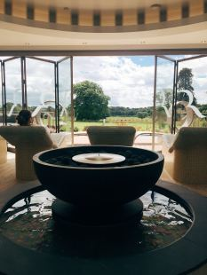 Water fountain with view of Rockliffe Hall gardens