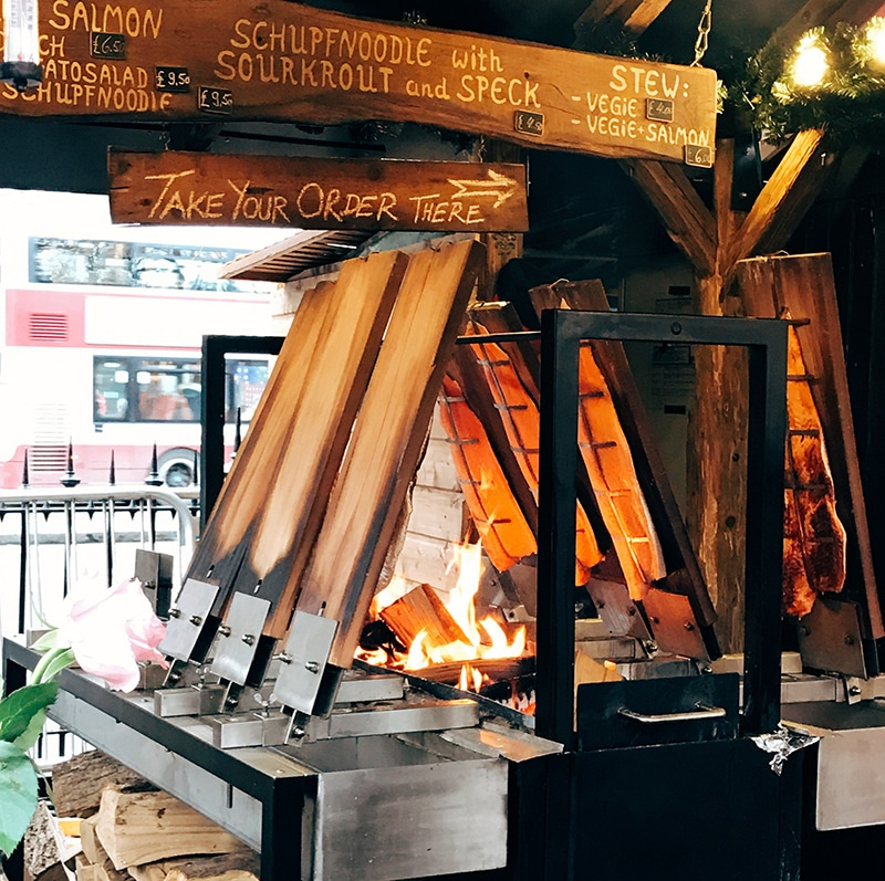 Salmon grill at Edinburgh's Christmas market