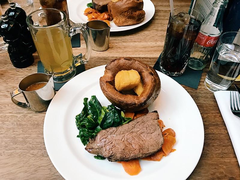 Sunday dinner at Hawksmoor restaurant, Manchester