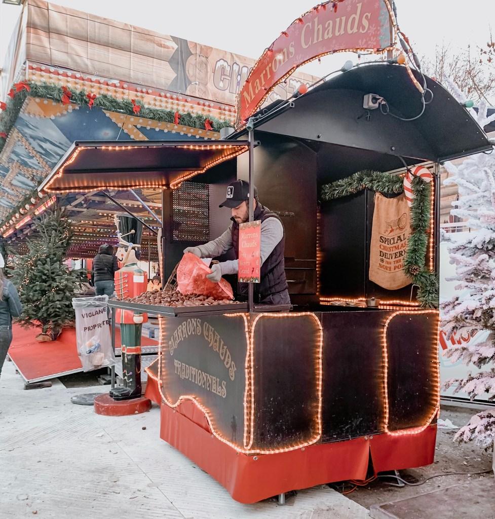 roast chestnut at paris christmas market