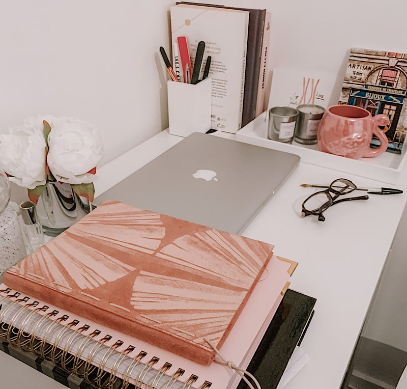 desk and notebooks