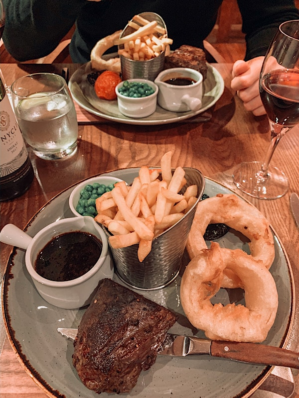 steak meal at Armathwaite Hall